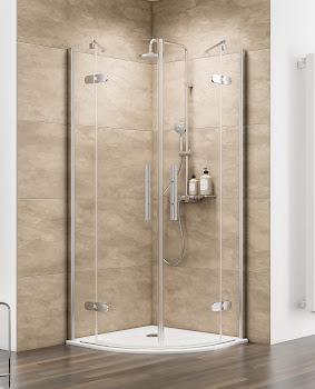 Paroi de douche arrondie avec portes pivotantes, 80 x 80 cm, 90 x 90 cm ou 100 x 100 cm
