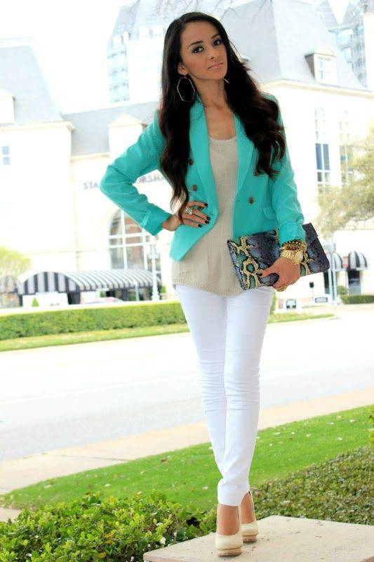 white jeans with bright colour blazers_image