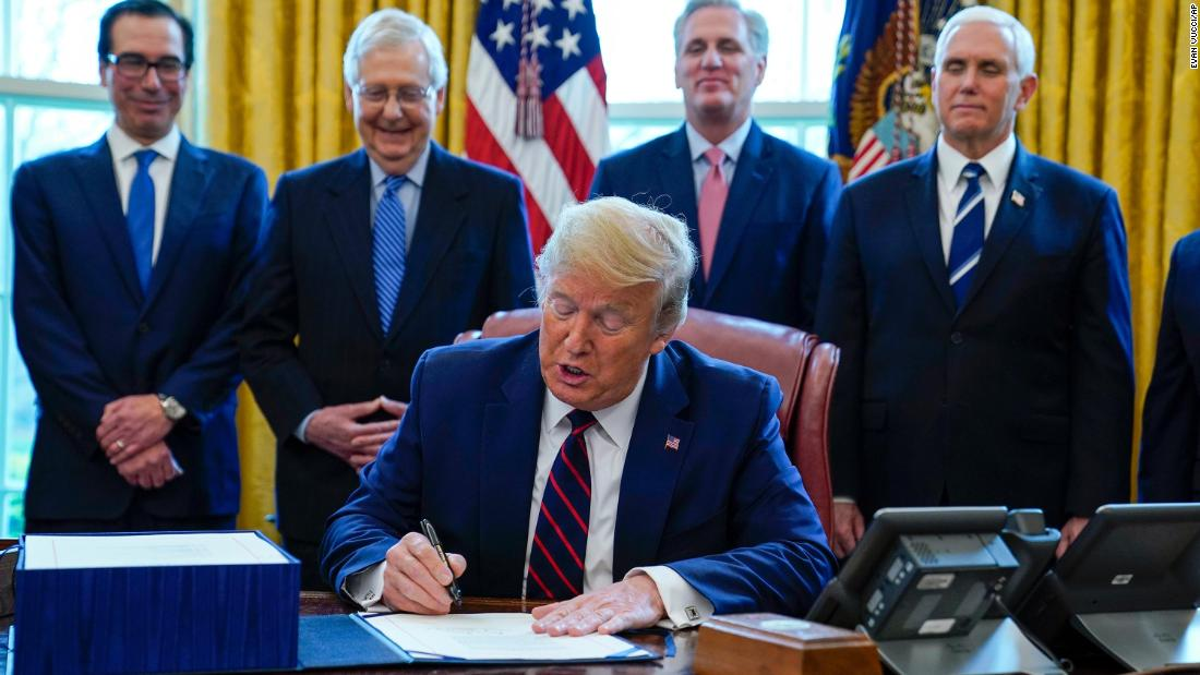 Pres. Trump signs the relief bill (Source:CNN)