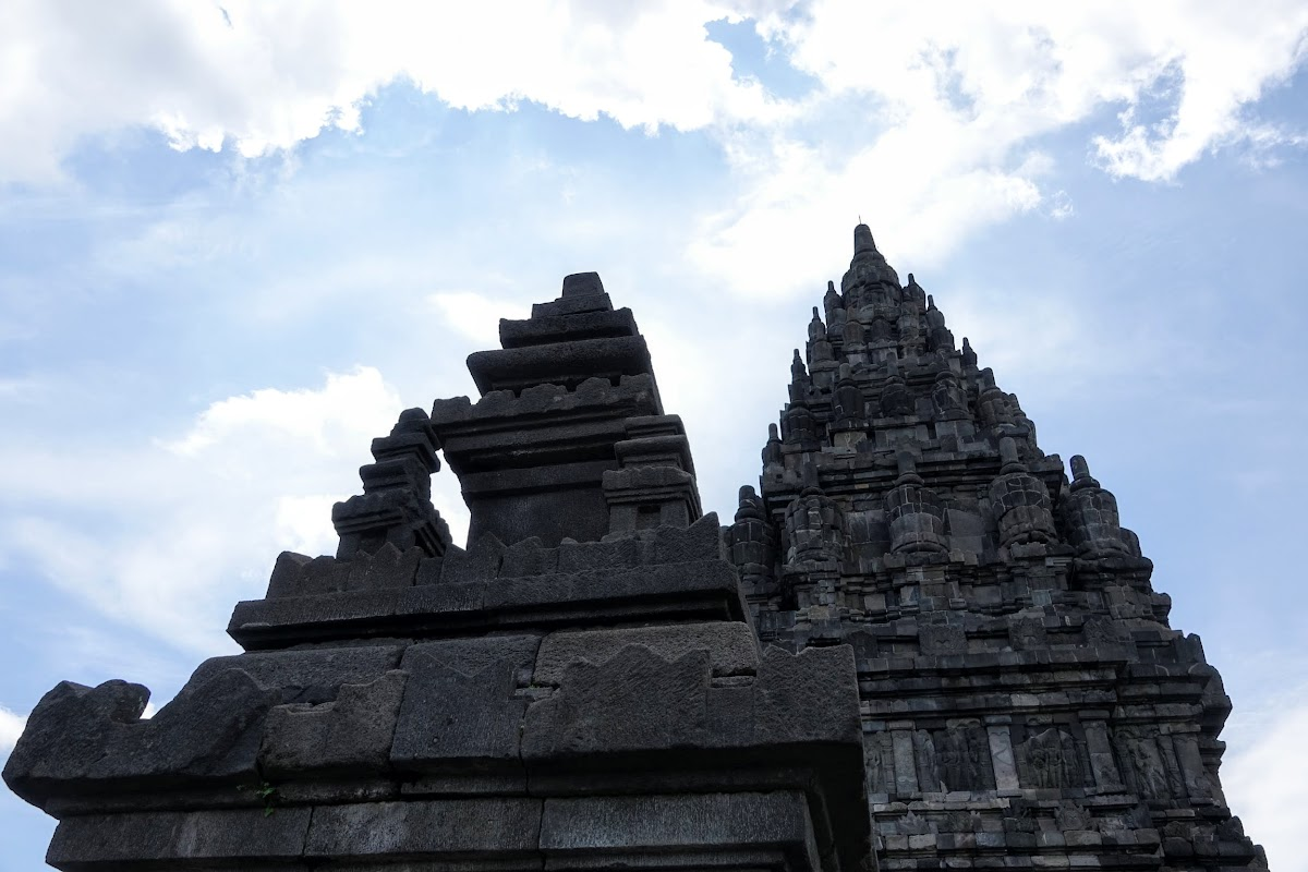 Indonesia. Yogyarkarta Pramantan Temple. Candi against the blue sky