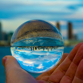 San Diego under the Lens by Chuck Vinson - Artistic Objects Glass ( horizon, san diego, blue, city, waterscape, lensball, night, california, evening,  )