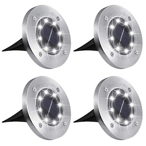 Set 4 x lampa solara cu 8 leduri si senzor de lumina cu fixare in sol