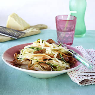 Spaghetti with Turkey, Vegetables and Cream Sauce.