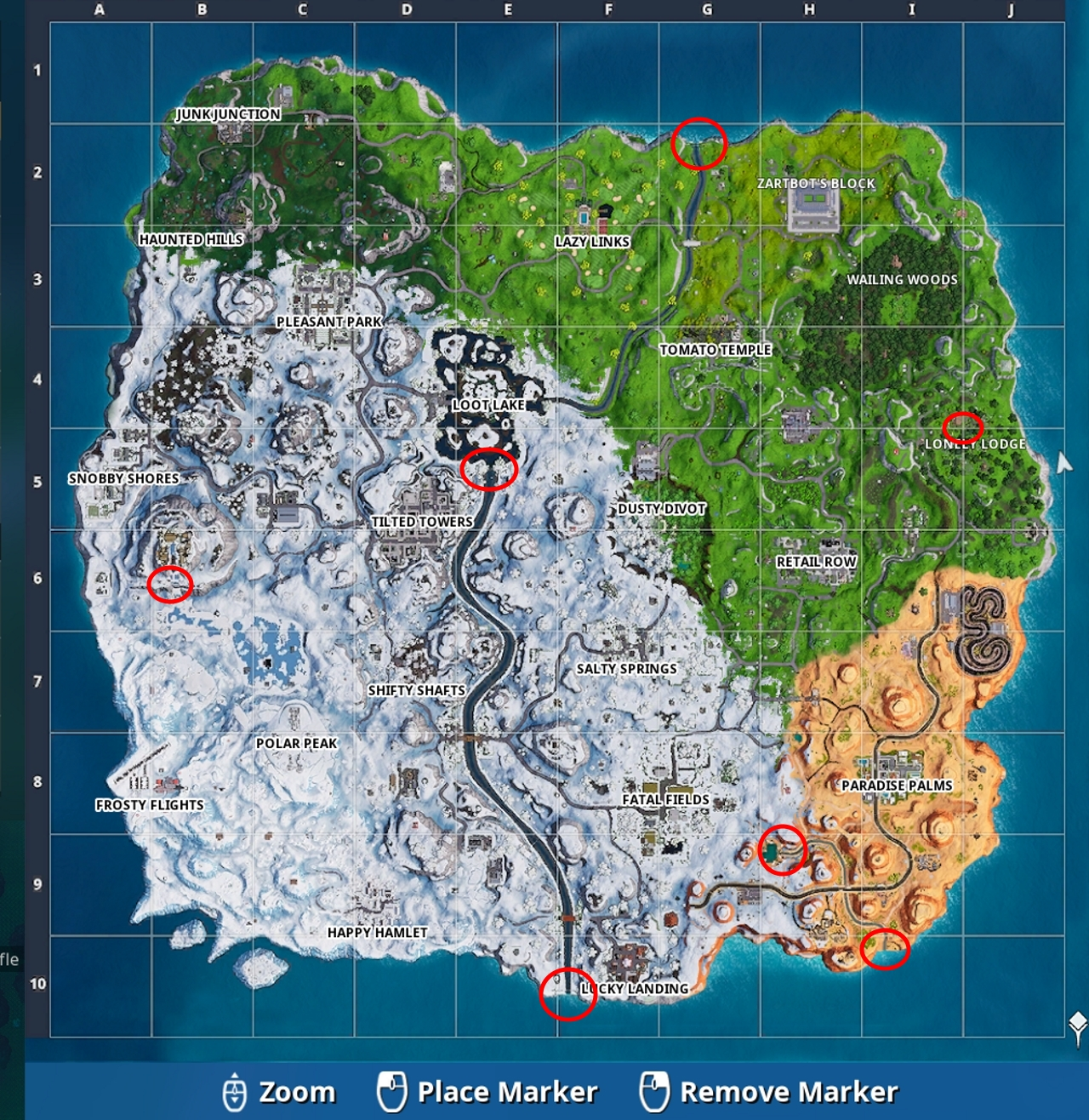 Where are the waterfalls in Fortnite