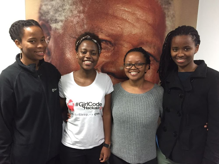 The winning UCT team: from left to right: Valerie Tshiani, Fadzai Mupunya, Kungela Mzuku and Lorna Nqodi, who participated in the GirlCode Hackathon in Johannesburg.