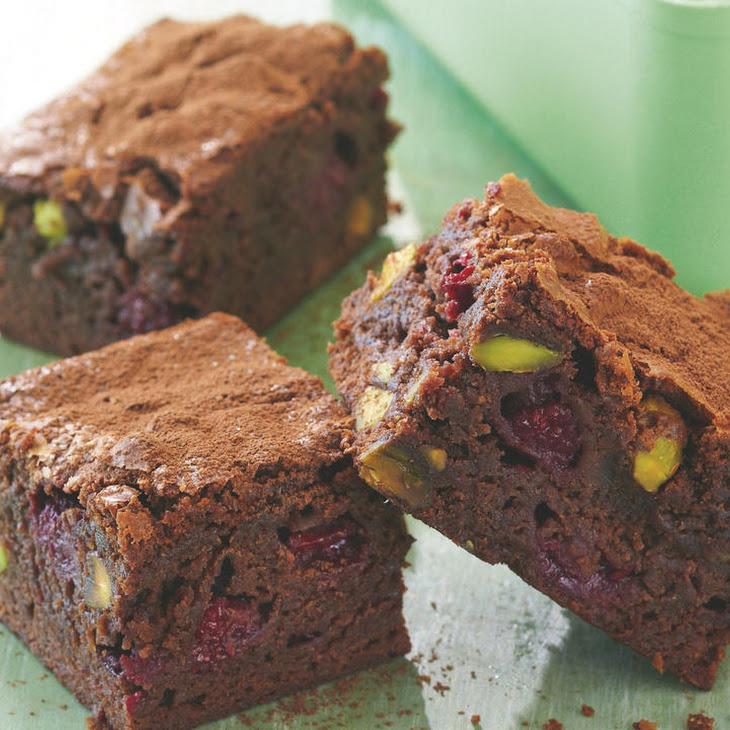 Chocolate, Raspberry and Pistachio Brownies