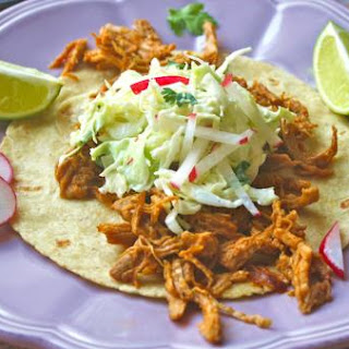 Red Thai curry pulled pork tacos with slaw