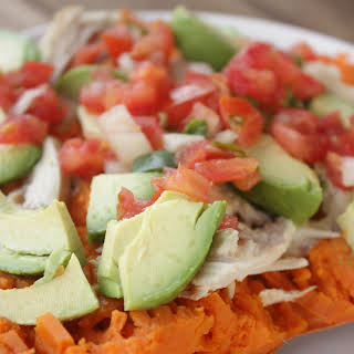 Sweet Potato with Chicken, Avocado and Salsa.