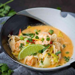 Thai Noodle Soup with Shrimp & Cabbage.