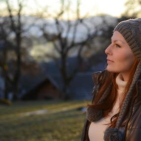 Looking far by Andrej Eling - People Portraits of Women ( looking, face, sunset, women, portrait )