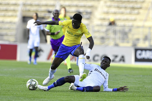 Phakamani Mahlambi of Mamelodi Sundowns and Thabang Monare of Bidvest Wits in a tussle during their Absa Premiership match.