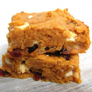 Spiced Sweet Potato Blondies with Cranberries and White Chocolate