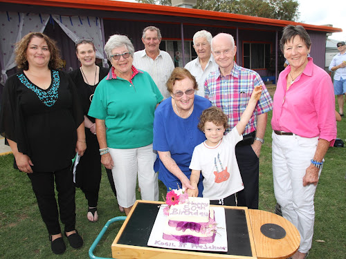 The honour of cutting the 50th birthday cake went to Eli O'Connell, assisted by original committee member Jan McKenzie who oversaw the  project for the present building in 1976. Pictured with them are director Heidi Harper, committee vice president Catherine McDonald, original supporters and committee members Val Falkiner, Ian Falkiner, Ron McKenzie and Kerry Moroney, two of the financial guarantors of the project in 1976, and original committee secretary Jenny Falkiner.