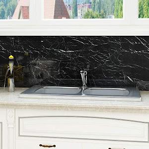 Folie adeziva imitatie marmura neagra, 60 x 200 cm, set 2/3 bucati
