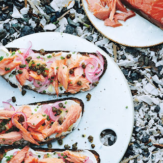 Smoked Salmon Tartines with Fried Capers.