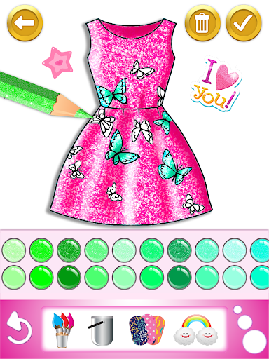 Glitter dress coloring and drawing book for Kids screenshot 17