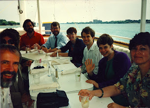 Photo: Detroit River Cruise, Deb Masten and John Mansfield's wedding party, l to r: Mike Alexander, Barbara Murphy, Steve Yalisove (UM professor, Material Science and Engineering), Laurie Kirchmeier, Julie Gales, Andy Palms, Shifrah Nenner, Suzan Alexander