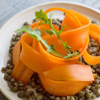 Warm, French Lentil Salad with Carrots and Arugula
