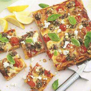 Lamb, Feta and Basil Pizza.