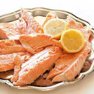 Poached Salmon With White Wine Butter.