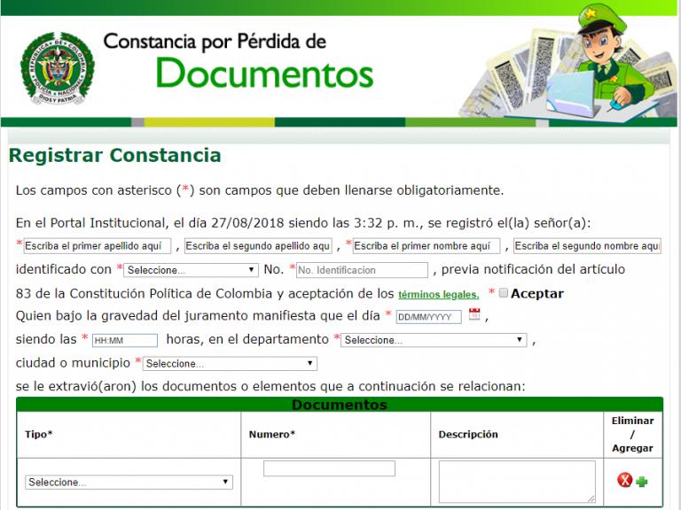 Denunciar Pérdida de Documentos en línea paso 1 y 2