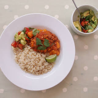 Sweet Potato Chilli with Brown Rice and Avocado Salad (Vegan).