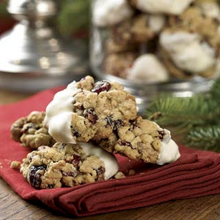 White Chocolate-Dipped Oatmeal-Cranberry Cookies.