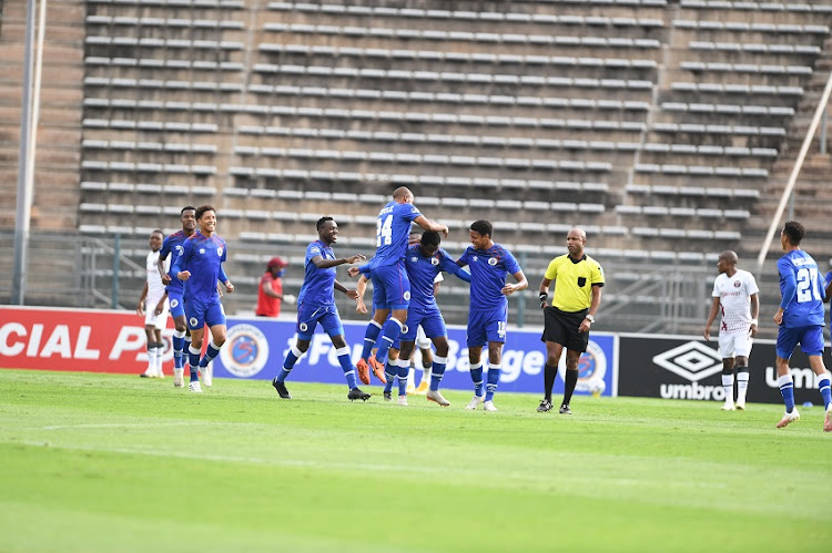 SuperSport United players celebrates during the DStv Premiership match between SuperSport United and Swallows FC at Lucas Masterpieces Moripe Stadium on January 30, 2021 in Pretoria, South Africa.