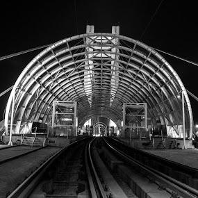 Rail Station by Mircea Bogdan - Travel Locations Railway ( rail, night, bridge )