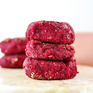 Beetroot And Polenta Cakes With Chives.