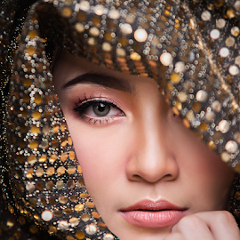 In Gold by Rafie Rosli Putra - People Portraits of Women ( gold, woman, hands, beauty, portrait, eyes )