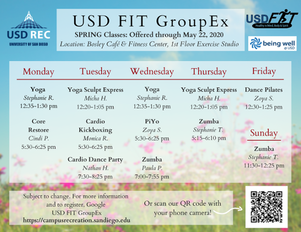 USD Fit GroupEx Spring 2020 Schedule
