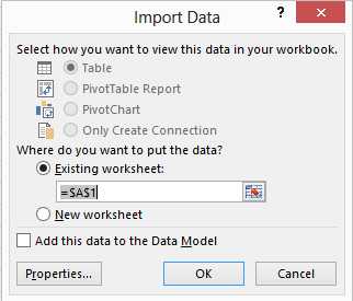 Screen image showing Excel Import Data Window, with Existing Worksheet selected.