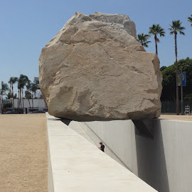 Levitating Mass - an Exhibit at the Los Angeles County Museum of Art by Eric Michaels - City,  Street & Park  City Parks ( los angeles county museum of art, huge, person, levitating mass, afternoon, sunny, perspective, boulder, lacma, man, viewer,  )