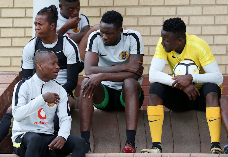 Kaizer Chiefs players in a discussion before their training session at their base in Naturena, south of Johannesburg, on October 31, 2018.