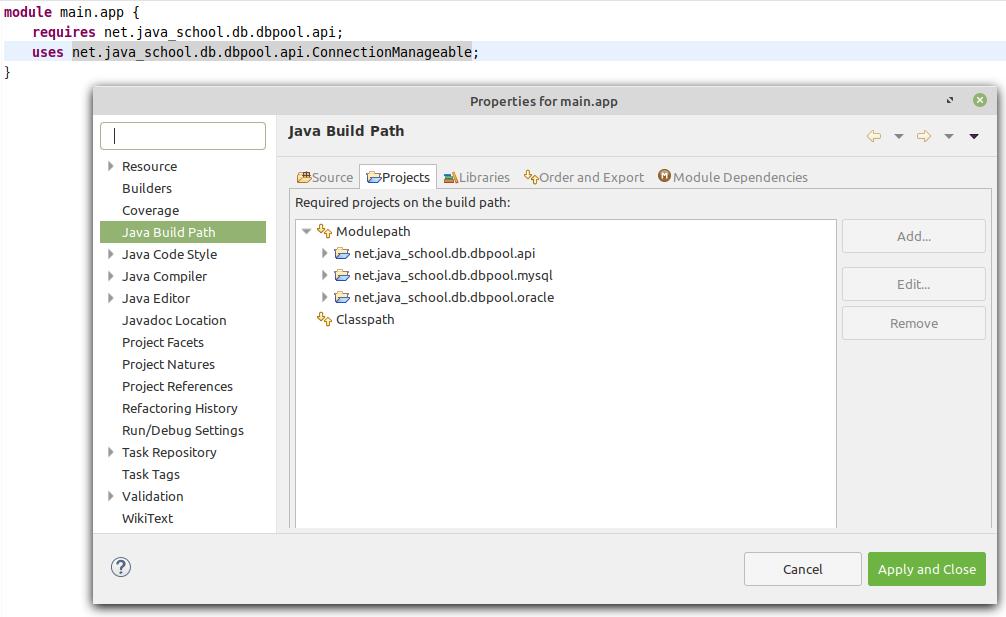 main.app module Java Build Path