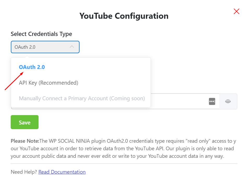 YouTube feed OAuth2.0