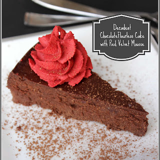 Decadent Chocolate Flourless Cake with Red Velvet Mousse.