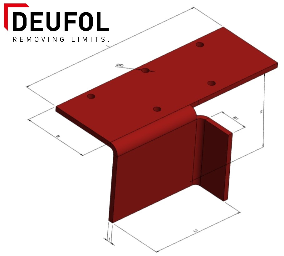 Set of 4 steel protection angles - bottom box - Type 5, 300 mm