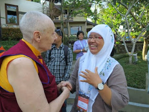 Photo: Jetsunma Tenzin Palmo, Sakyadhita International President, with another participant at the conference. Courtesy of Jetsunma Tenzin Palmo's Facebook page.