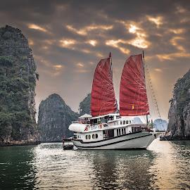 Ha Long Bay by David Long - Transportation Boats