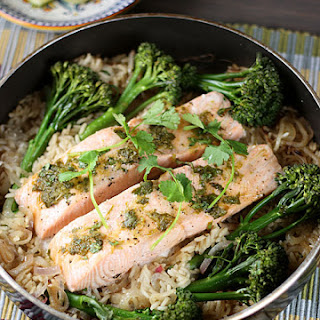 Lime-and-Agave-Glazed Salmon with Basmati and Broccolini Recipe