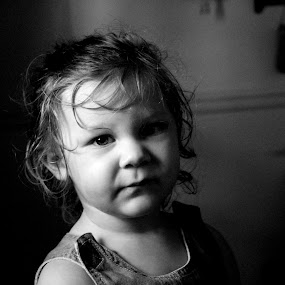 Sunshine by Kevin Hill - Babies & Children Child Portraits ( child, cute baby, black and white, lips, cute, curly hair, eyes,  )