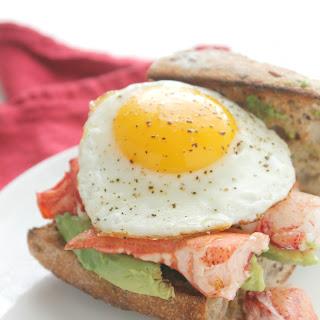 Lobster, Egg and Avocado Breakfast Sandwich.