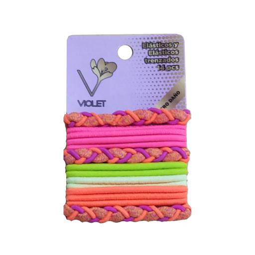 elasticos violet trenzados x14und