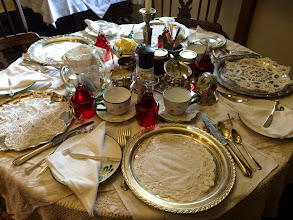 Photo: Beautiful Silver Table Settings, with Charger Plates w. Doily Plate Silencers and Knife Benches