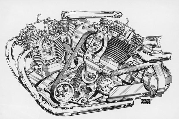 Double moteurs Triumph avec un compresseur à palettes.
