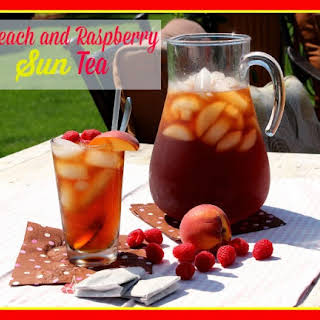 Peach and Raspberry Sun Tea with Cilantro Simple Syrup.