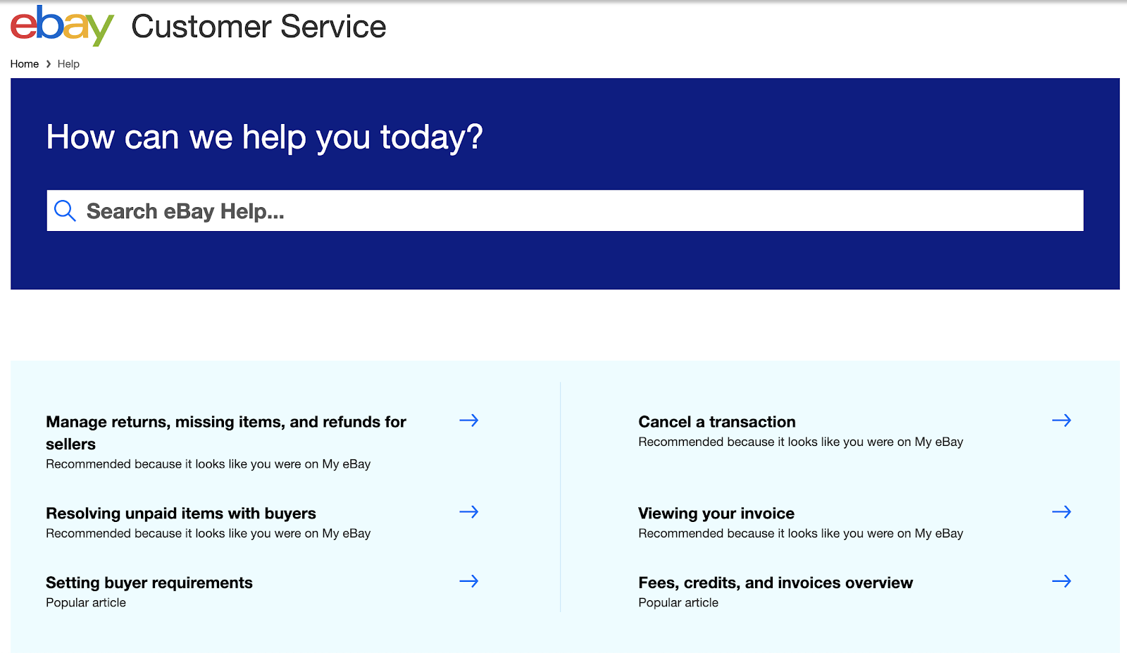 eBay customer service page screenshot