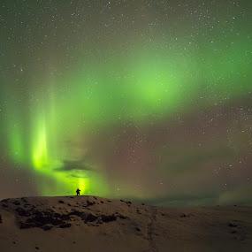 Aurora boreal by Lourdes Ortega Poza - Landscapes Weather ( luz, northenlights, verde, islandia, montaña )